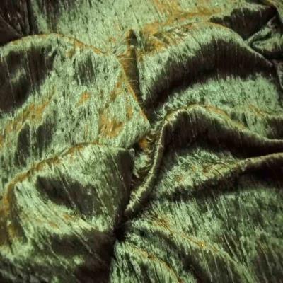 Tres beau velours souple vert kaki a sequins