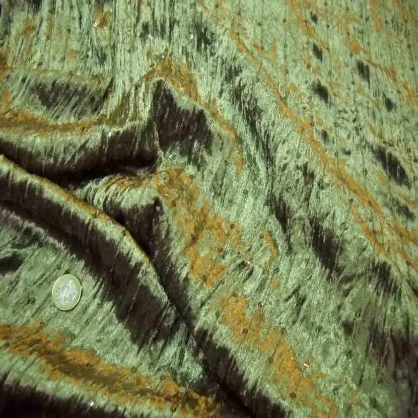 Tres beau velours souple vert kaki a sequins7