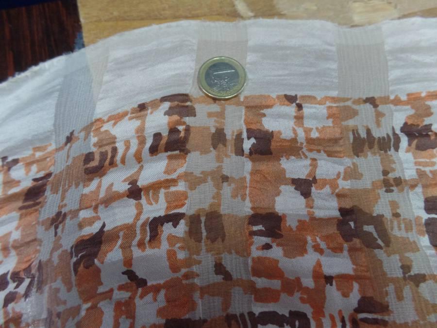 Twill de soie devore mousseline imprime ton marron rouille2