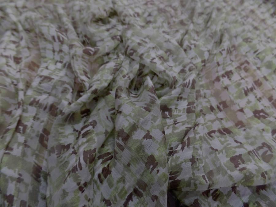 Twill de soie devore mousseline imprime ton vert olive marron et blanc7