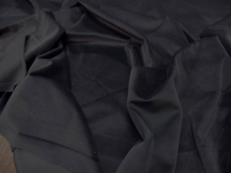 Vente de velours ameublement lisse gris fonce en 1 45m de large