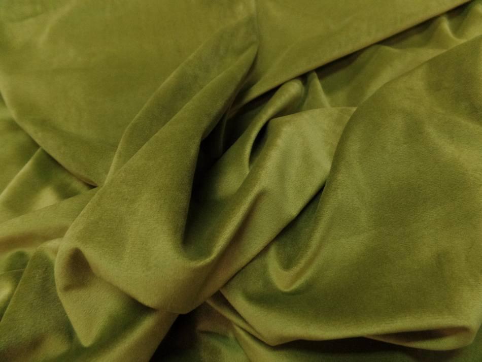 velours ameublement lisse vert olive en 1.45m de large