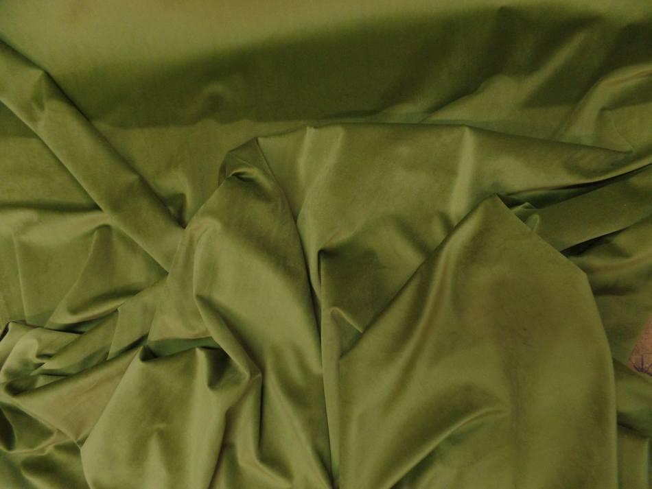 tissu velours ameublement lisse vert olive