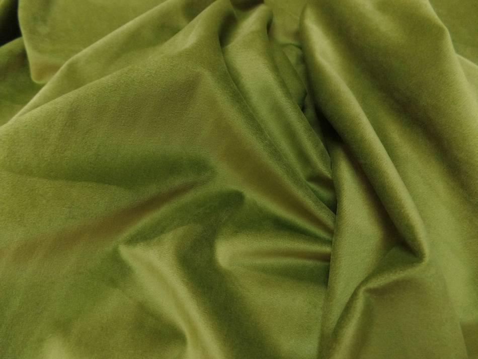 Velours ameublement lisse vert olive