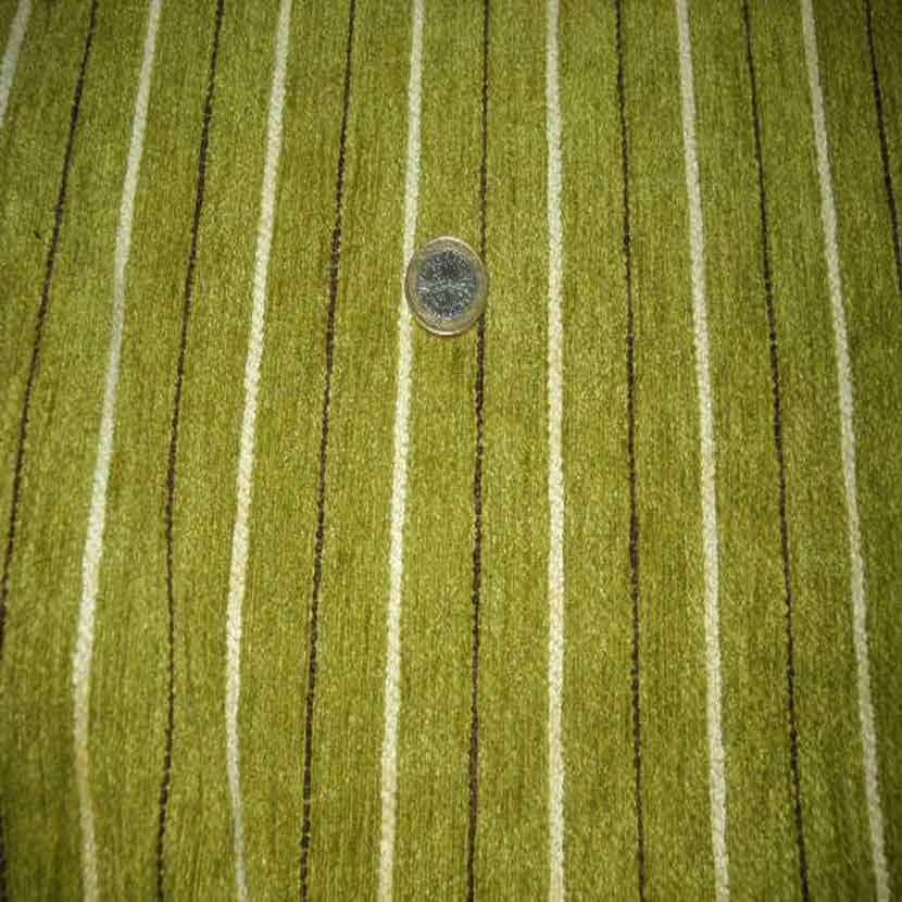 Velours coton d ameublement raye ton vert8
