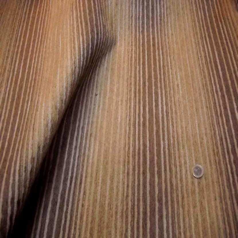 Velours coton pour l ameublement a rayures ton marron0