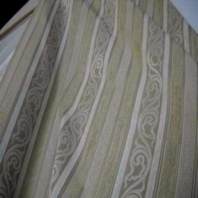 Velours coton pour l ameublement ton beige a rayures faconnees
