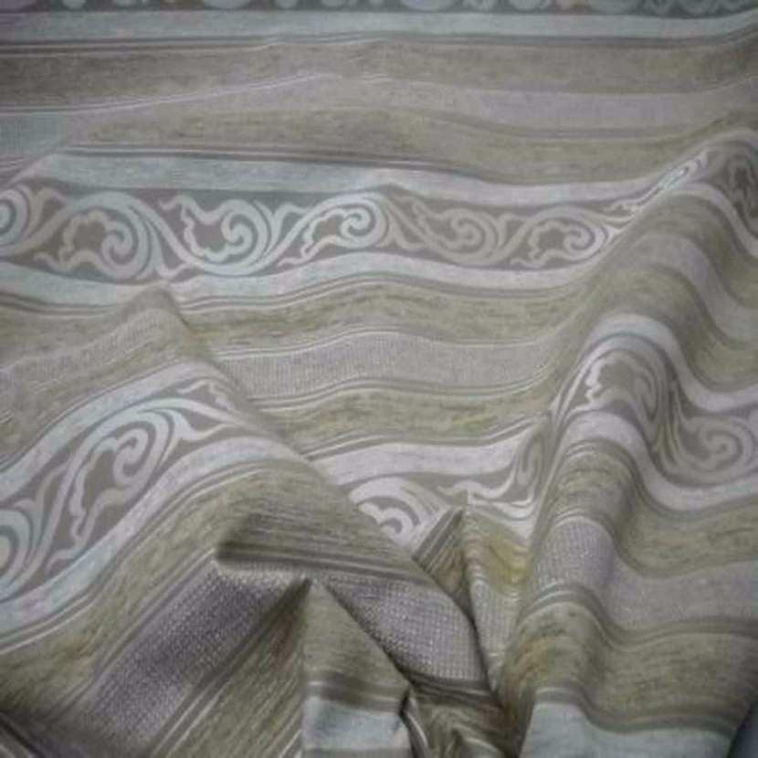 Velours coton pour l ameublement ton beige a rayures faconnees3