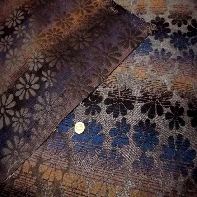 Velours coton pour l ameublement ton bleu marron6
