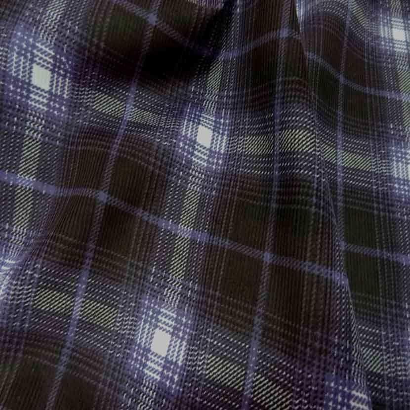 Velours milleraies marron a carreaux violet