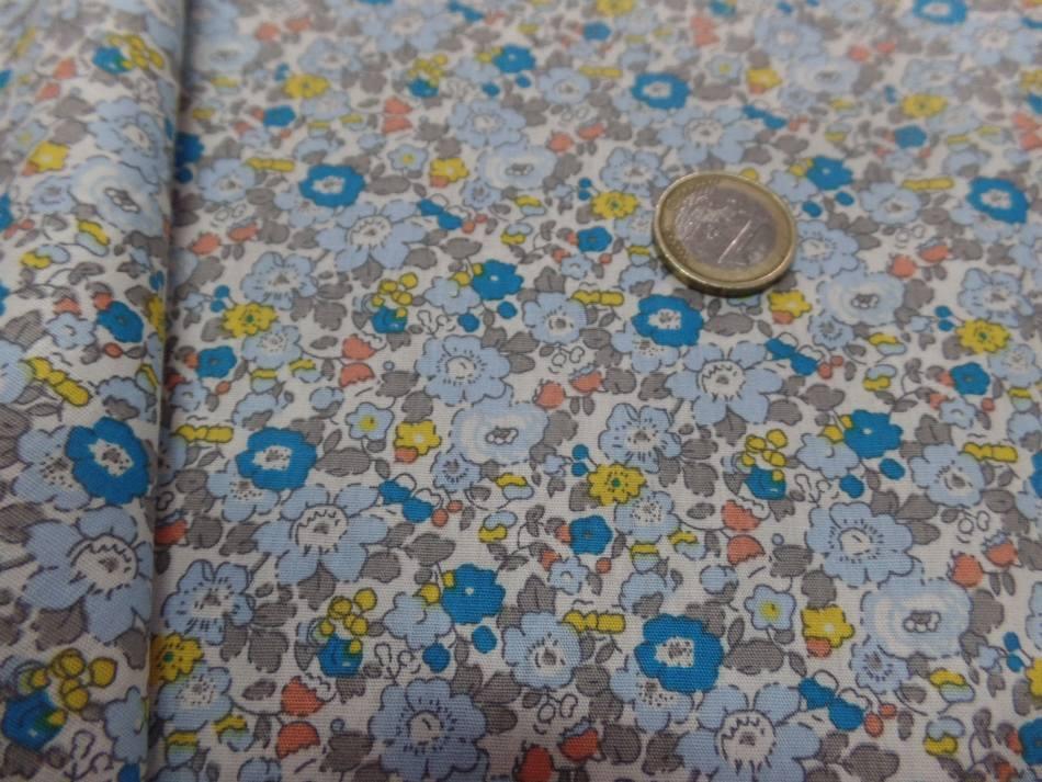 Vente de coton popeline blanche imprime style liberty fleurs bleu jaune taupe