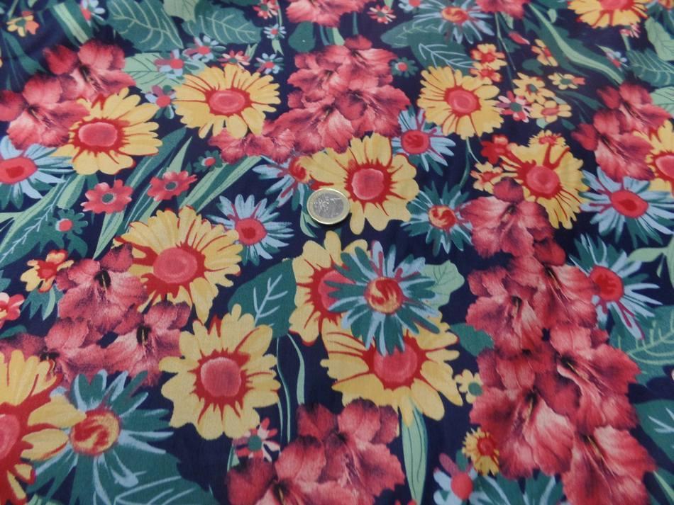 Vente de popeline coton noire imprime fleurs ton de terre bordeaux vert jaune