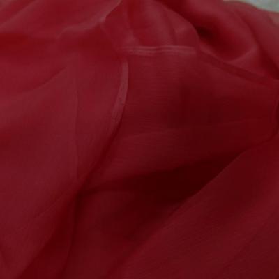 Vente de tissu coupon de 5m de mousseline de soie crepon ton rouge