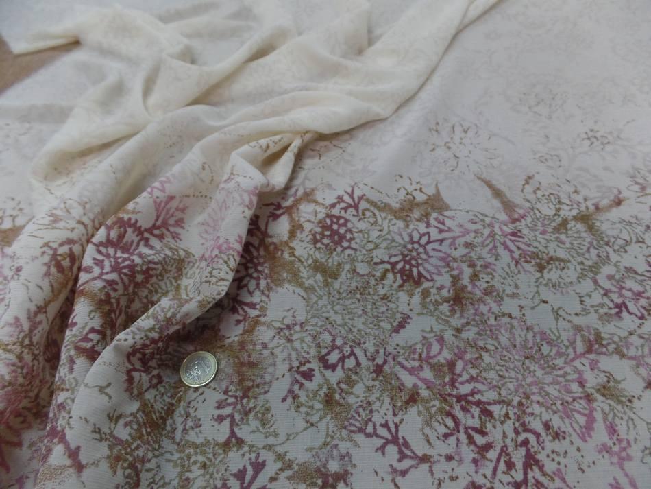 Vente de tissu crepon imprime beige clair en 1 40 m de large 1