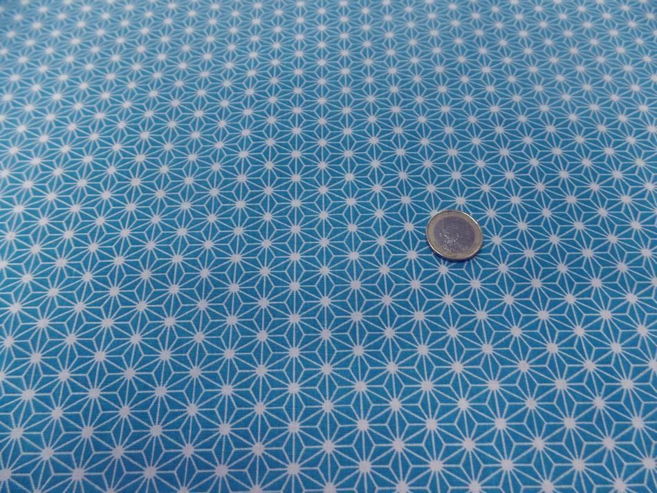 Vente de tissu cretonne imprime geometrique bleu et blanc