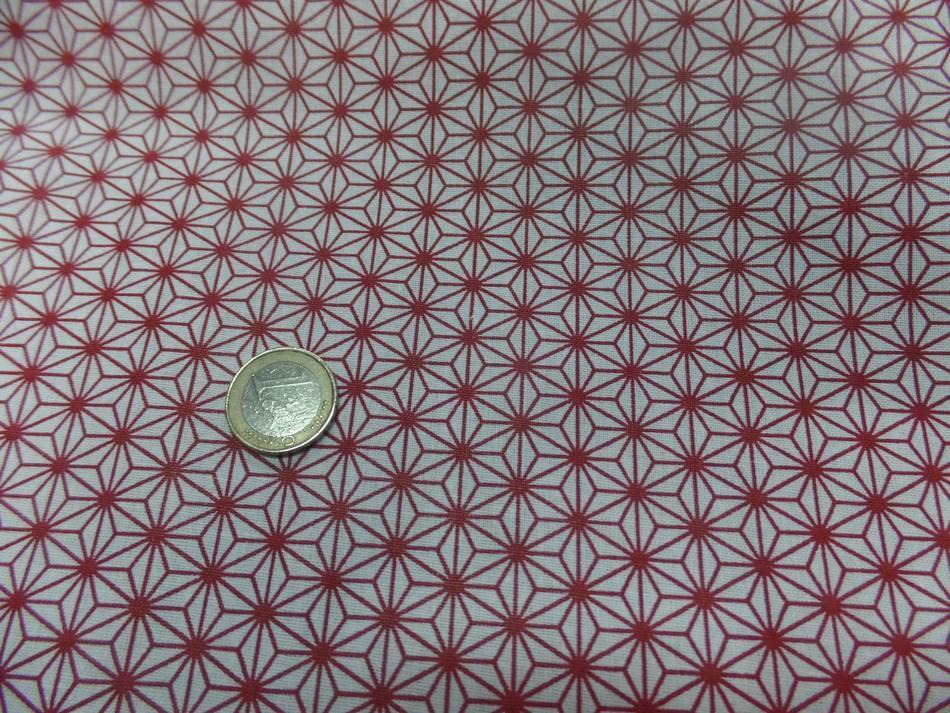 Vente de tissu cretonne imprime geometrique rouge et blanc 0