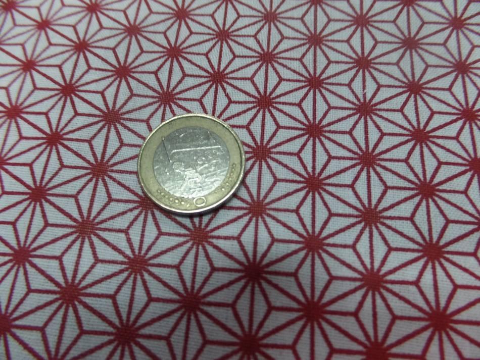 Vente de tissu cretonne imprime geometrique rouge et blanc a marseille