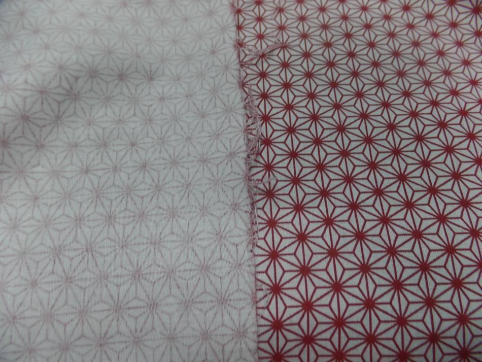Vente de tissu cretonne imprime geometrique rouge et blanc