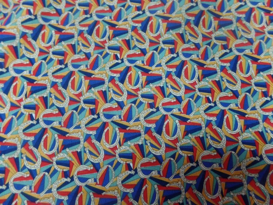 Vente de tissu popeline coton imprime fer a cheval multi couleurs