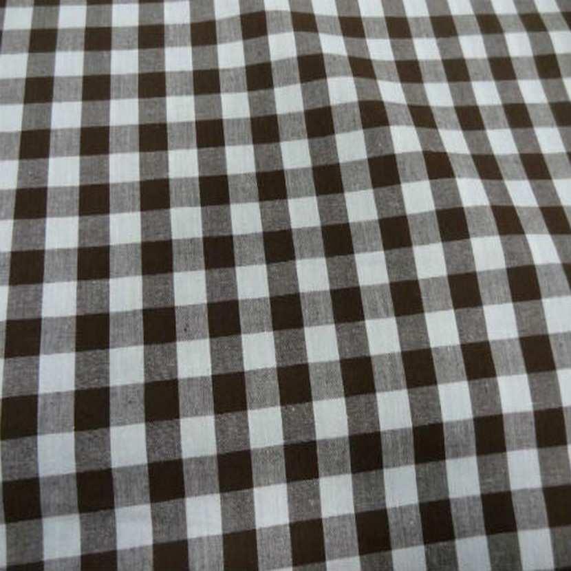 Vichy coton gros carreaux marron blanc2