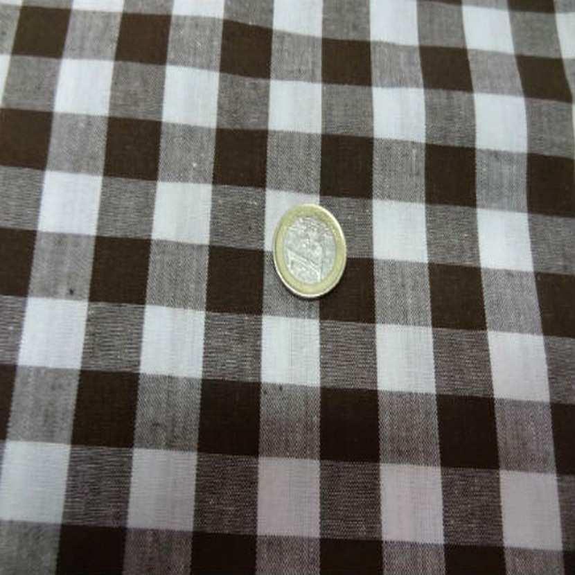 Vichy coton gros carreaux marron blanc9