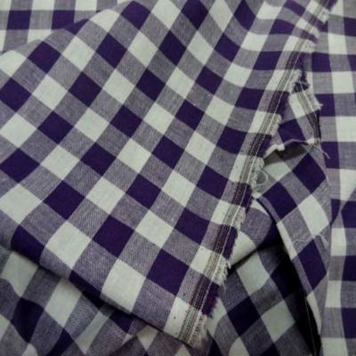 Vichy coton gros carreaux violet blanc