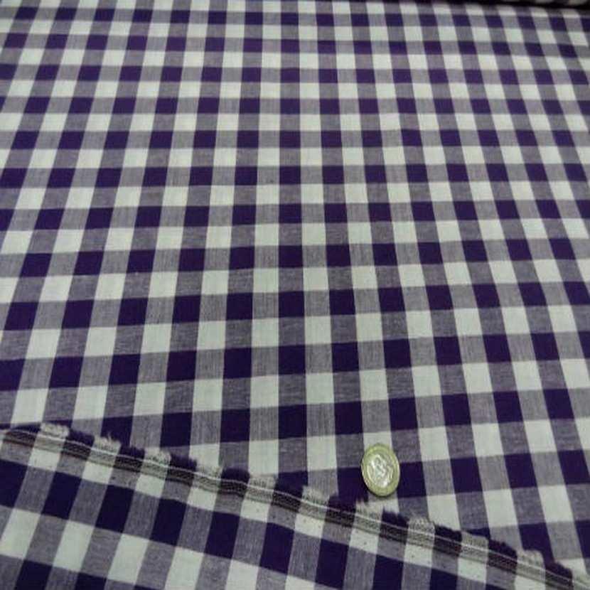 Vichy coton gros carreaux violet blanc3
