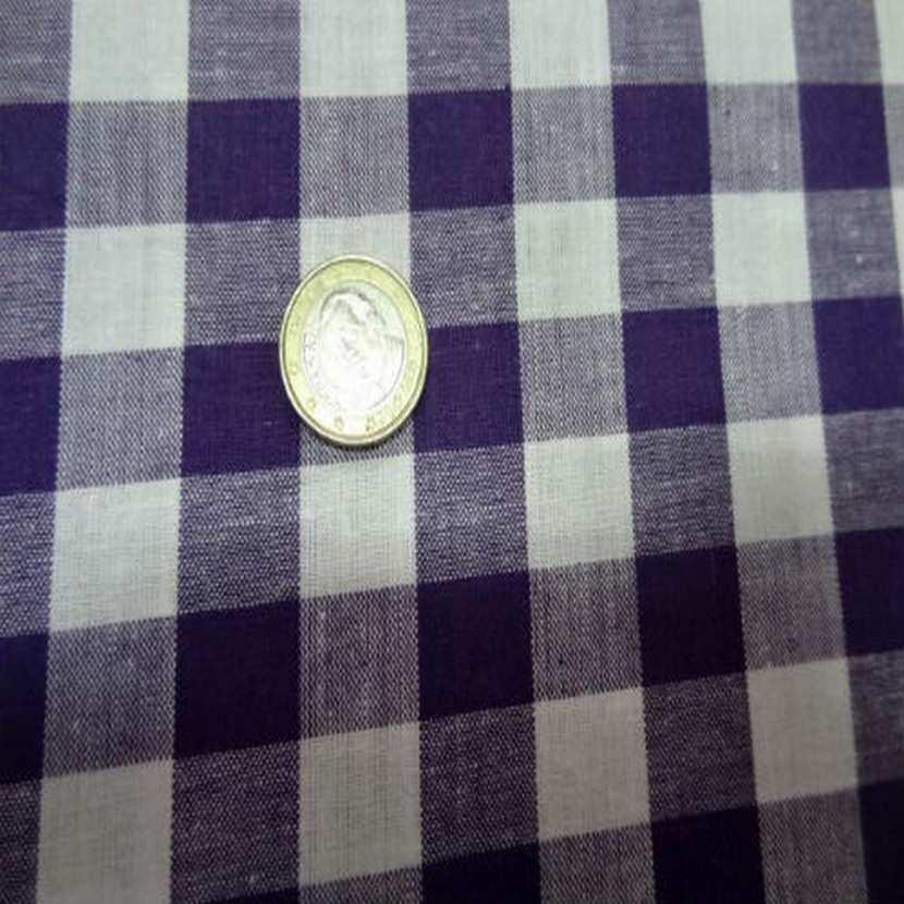 Vichy coton gros carreaux violet blanc6