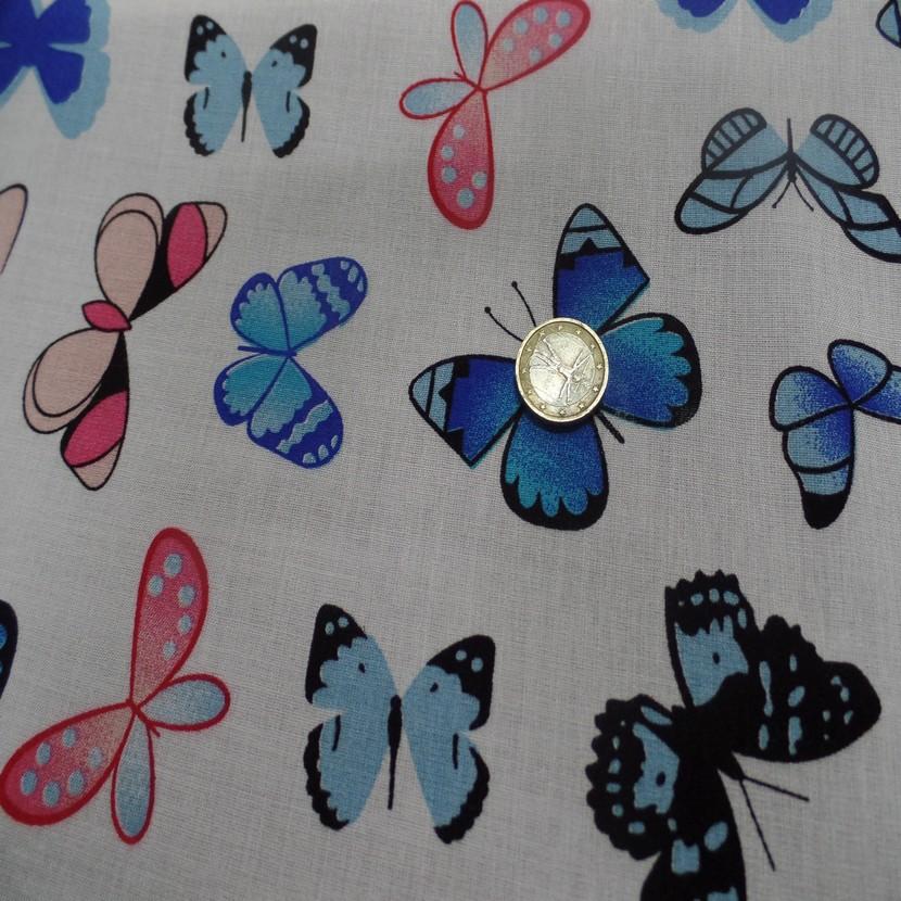 Viscose blanche fine imprime papillon bleu et rose06