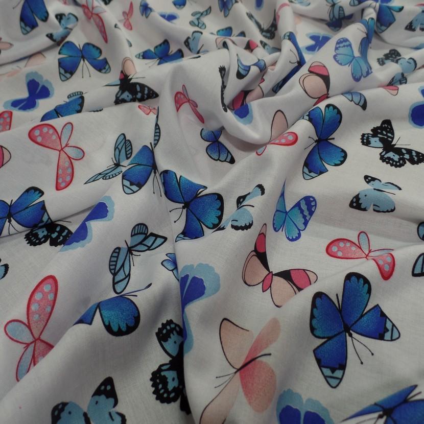 Viscose blanche fine imprime papillon bleu et rose6