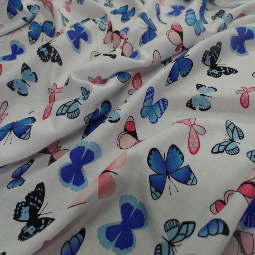 Viscose blanche fine imprime papillon bleu et rose7