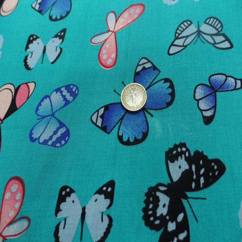 Viscose bleu fine imprime papillon bleu et rose8
