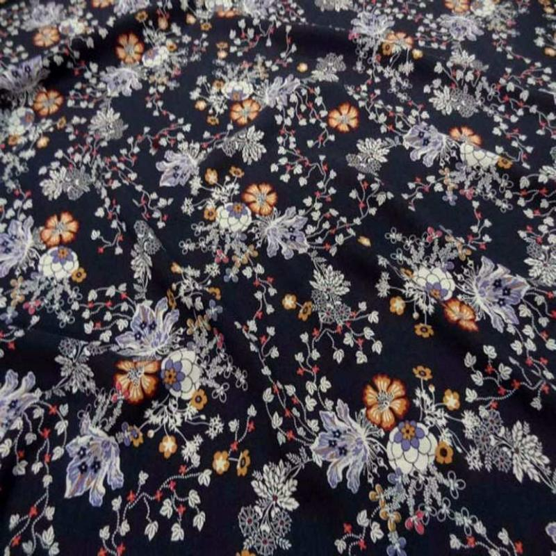 Viscose bleu nuit imprime fleurs2 1