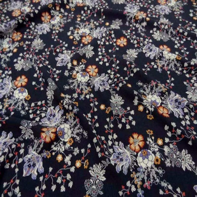 viscose bleu nuit imprime fleurs