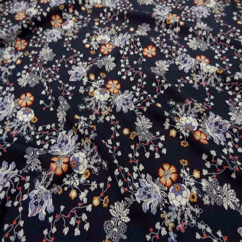 Viscose bleu nuit imprime fleurs2