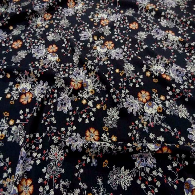 Viscose bleu nuit imprime fleurs9