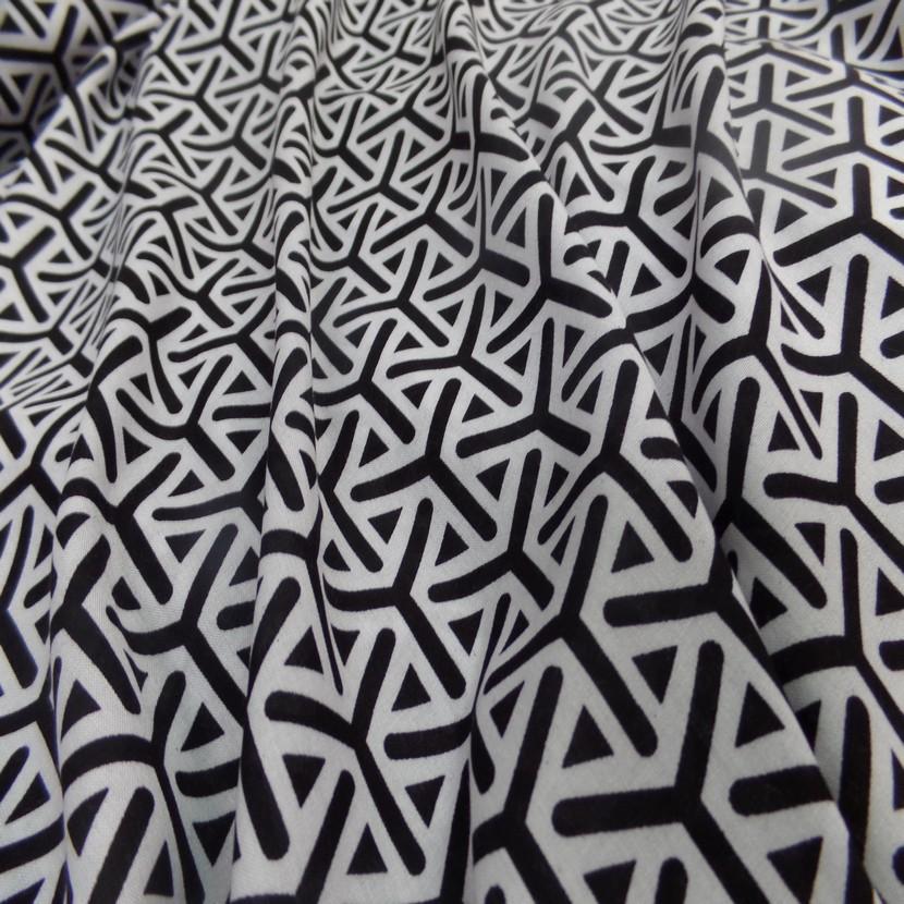 Viscose fine imprime blanc et noir