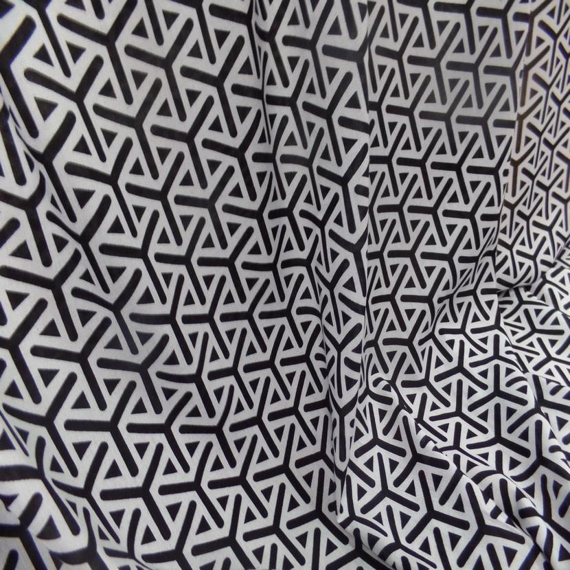 Viscose fine imprime blanc et noir6