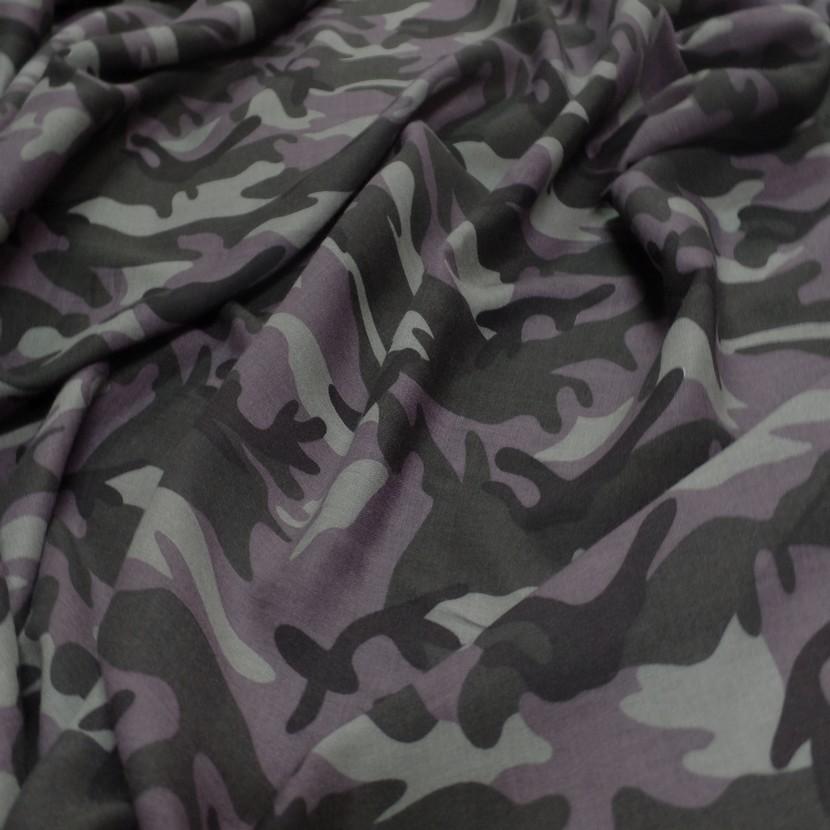 Viscose fine imprime camouflage marron noir et taupes4