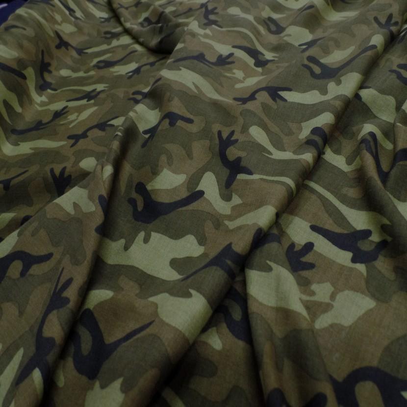 Viscose fine imprime camouflage vert kaki noir