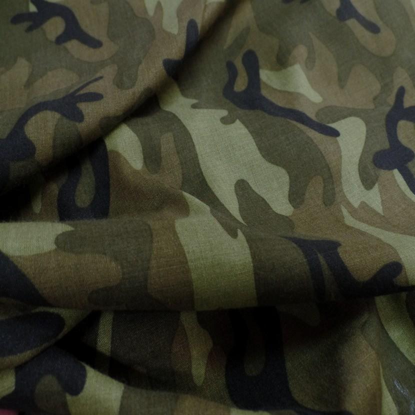 Viscose fine imprime camouflage vert kaki noir1
