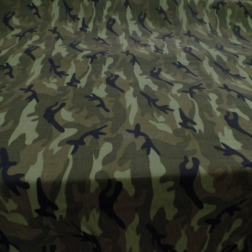 Viscose fine imprime camouflage vert kaki noir7