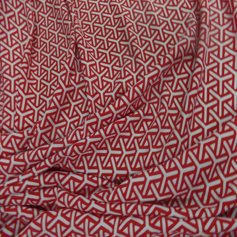 Viscose fine imprime rouge et blanc0