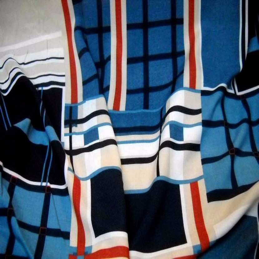 Viscose imprime carreaux ton bleu beige en 1 50m l6