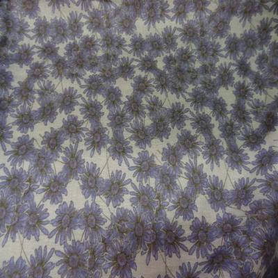 Viscose imprime petite fleurs blanc mauve