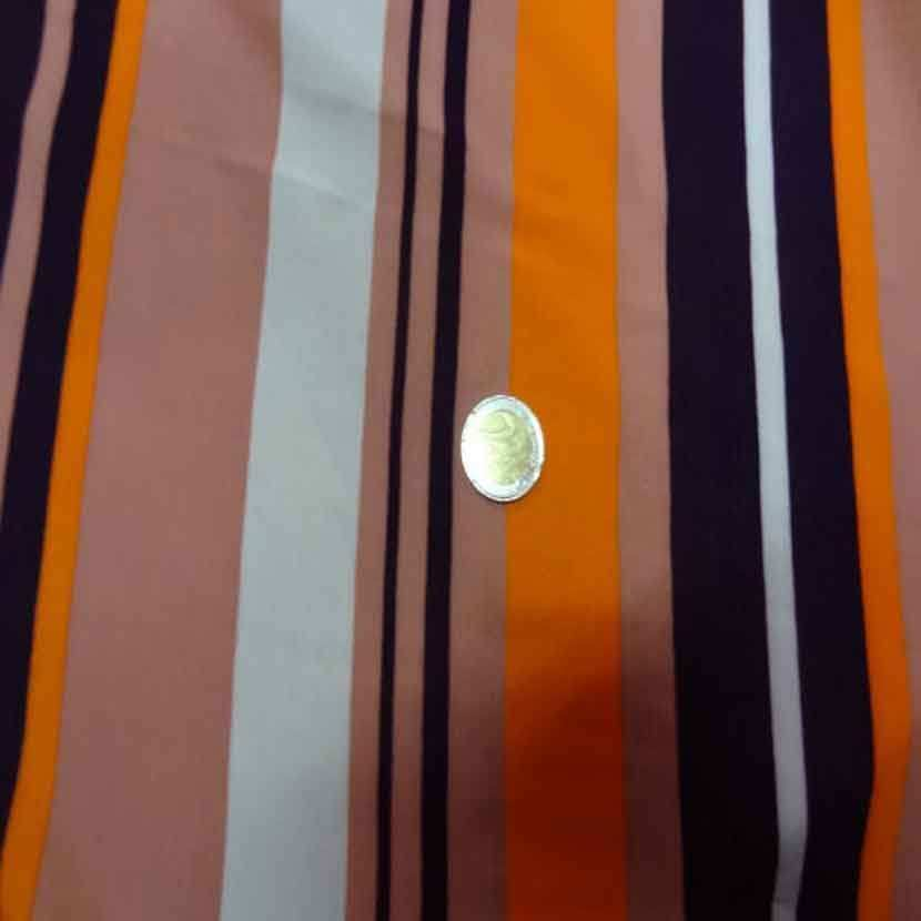 Viscose imprime rayures ton orange09