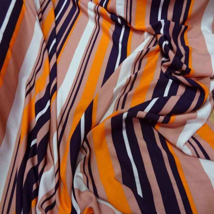 Viscose imprime rayures ton orange9