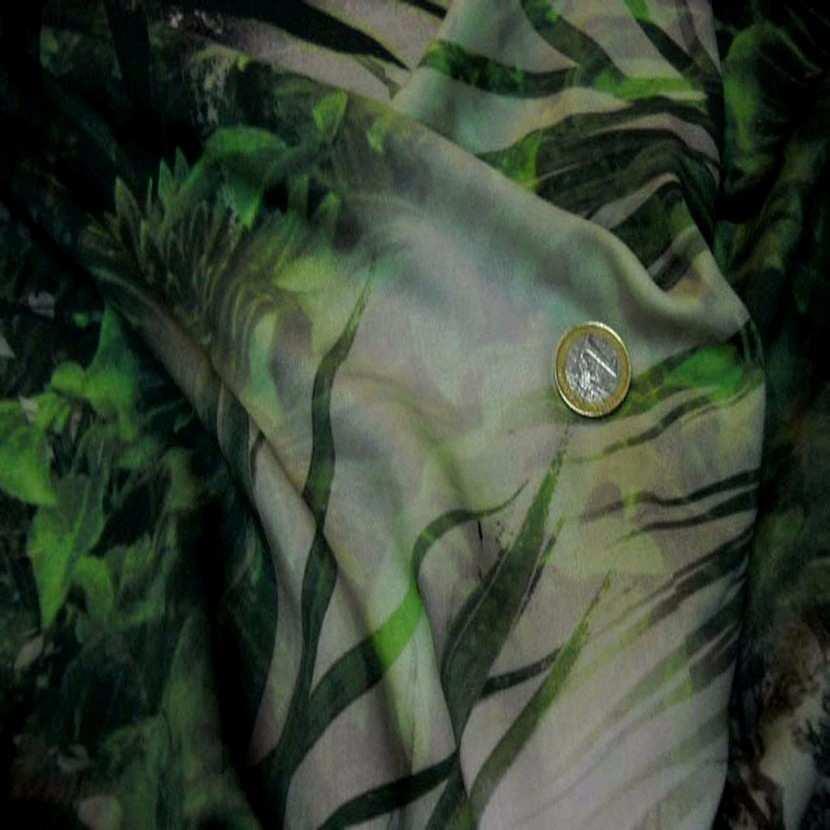 Viscose imprime ton vert blanc et gris en 1 50m l06