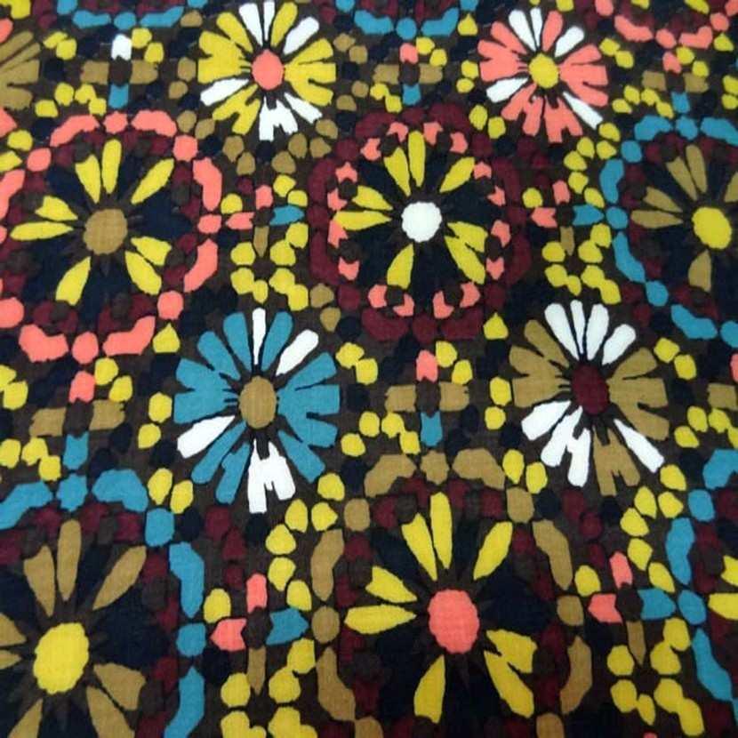 Viscose marron imprime fleurs