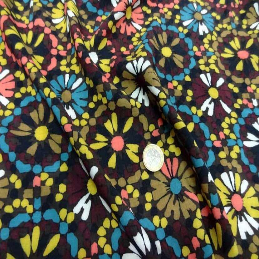 Viscose marron imprime fleurs5